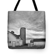 Early Morning On The Farm Bw Tote Bag