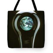 Earth In Light Bulb  Tote Bag