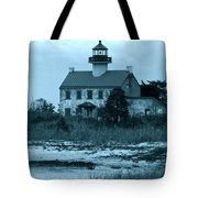 East Point Light In The Clouds Tote Bag