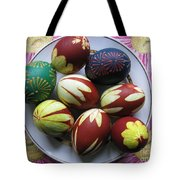 Easter Eggs. Plant Print And Wax Drawing. Tote Bag