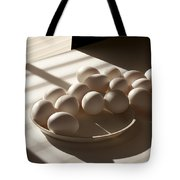 Eggs Lit Through Venetian Blinds Tote Bag