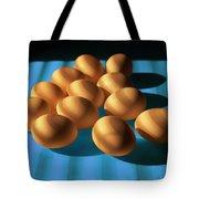Eggs On Blue Lit Through Venetian Blinds Tote Bag