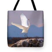 Egret On His Rock Tote Bag