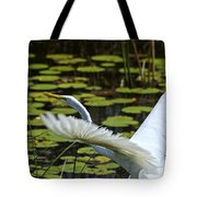 Egret Take Off Tote Bag
