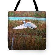 Egret Watching Tote Bag