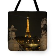 Eiffel Tower And The Seine River From Pont Alexandre At Night Tote Bag