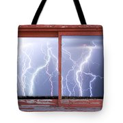 Electric Skies Red Barn Picture Window Frame Photo Art  Tote Bag