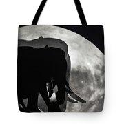 Elephants On Moonlight Walk Tote Bag