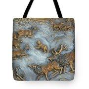 Elk And Bobcat In Winter Tote Bag