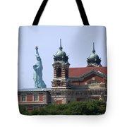 Ellis Island And Statue Of Liberty Tote Bag