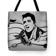 Elvis In Black And White Tote Bag