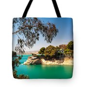 Emerald Lake With Duke House. El Chorro. Spain Tote Bag