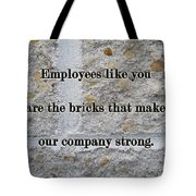 Employee Service Anniversary Thank You Card - Cement Wall Tote Bag