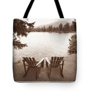 Empty Chairs On Waterfront Tote Bag