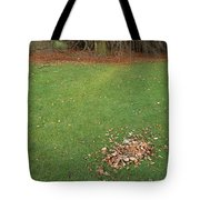 Empty Lawn With A Little Heap Of Leaves Scraped Together Tote Bag