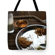 Enjoying A Plate Of Rajasthani Food On A Steel Plate On A Bamboo Table Tote Bag