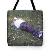 Enjoying A Snooze In A Partially Shaded Green Meadow Tote Bag