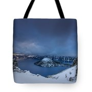 Enveloping Storm At Crater Lake Tote Bag
