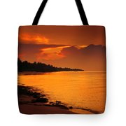 Epic Sunset In The Tropical Maldivian Island Tote Bag