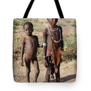 Ethiopia-south Tribesman Boy And Sister No.1 Tote Bag