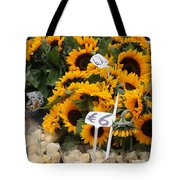 European Markets - Sunflowers And Roses Tote Bag