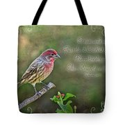Evening Finch Greeting Card With Verse Tote Bag