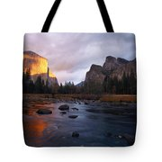 Evening Sun Lights Up El Capitan Tote Bag