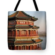 Evening Temple Of The Fragrant Buddha Tote Bag by Mike Reid