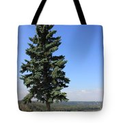Evergreen Tree Beside The River Tote Bag