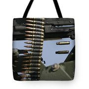 Expended Brass Falls From A Machine Gun Tote Bag
