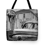 Expired A Black And White Photograph Of A Tavern Parking Meters And Vintage Junk Auto Tote Bag