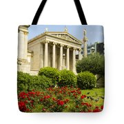 Exterior Of The Athens Academy, Greece Tote Bag