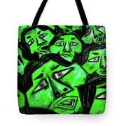 Faces - Green Tote Bag