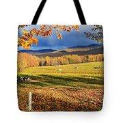 Fall Colours, Cows In Field And Mont Tote Bag