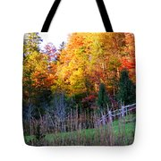 Fall Trees And Fence Tote Bag