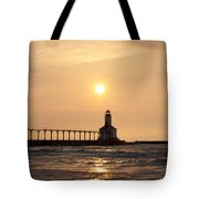 Falling On The Lighthouse Tote Bag