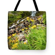 Falls To The Flowers Tote Bag