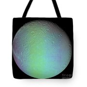 False Color View Of Saturns Moon Dione Tote Bag