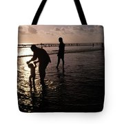 Families Play In A Shallow Lagoon Tote Bag