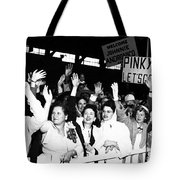 Families Waving And Greeting The Return Tote Bag