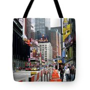 Amidst Color And Construction In Times Square Tote Bag
