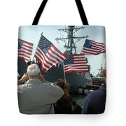 Family Members Wave Flags To Show Tote Bag