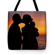 Family Silhouettes At Sunset Tote Bag