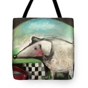 Fancy Dog At Picnic With Water Dish Tote Bag