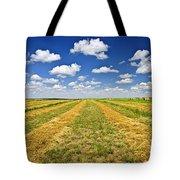 Farm Field At Harvest In Saskatchewan Tote Bag