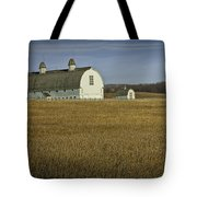 Farm Scene With White Barn Tote Bag