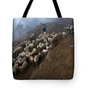 farmers bring their sheep to graze. Republic of Bolivia. Tote Bag