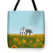 Farmhouse In A Field Of Sunflowers Tote Bag