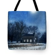Farmhouse Under Full Moon In Winter Tote Bag