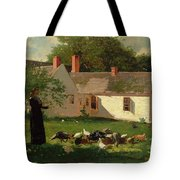 Farmyard Scene Tote Bag by Winslow Homer